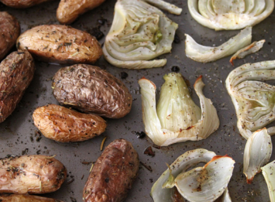 Yummy roasted potatoes with fennel make a change from just potatoes