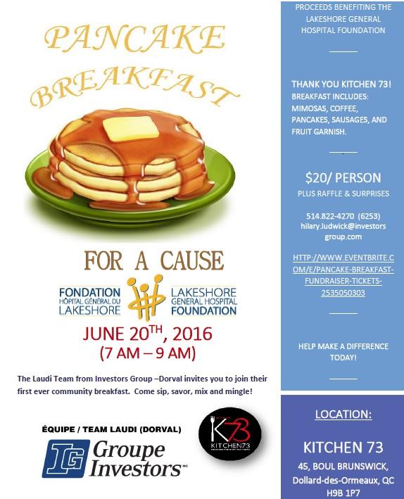 Investors Group, Pancake Breakfast, Lakeshore General Hospital Foundation , west Island blog, Rhonda Massad