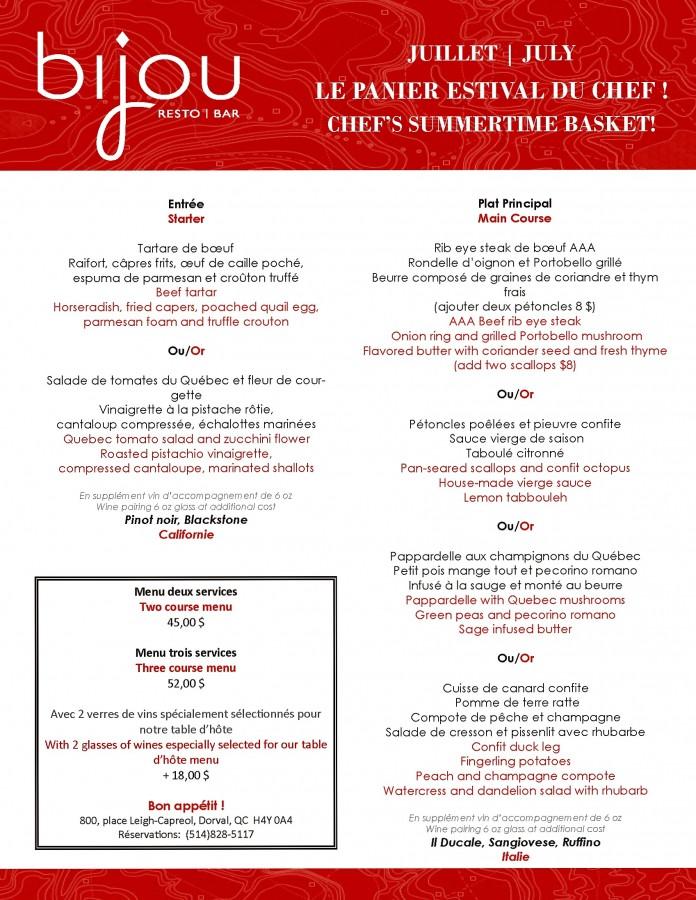Menu Table d'Hote avec vins JUILLET_OPTION1