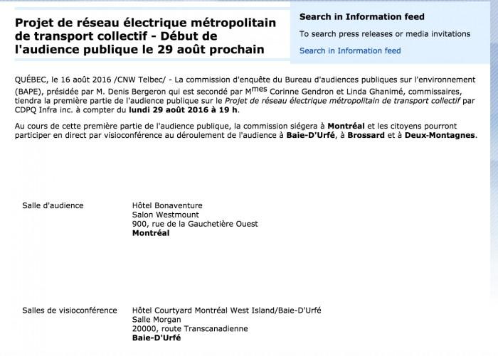 CDPQ Infra Light Rail, Consultation,  Baie-D'Urfé Courtyard Marriott, Montreal, BAPE