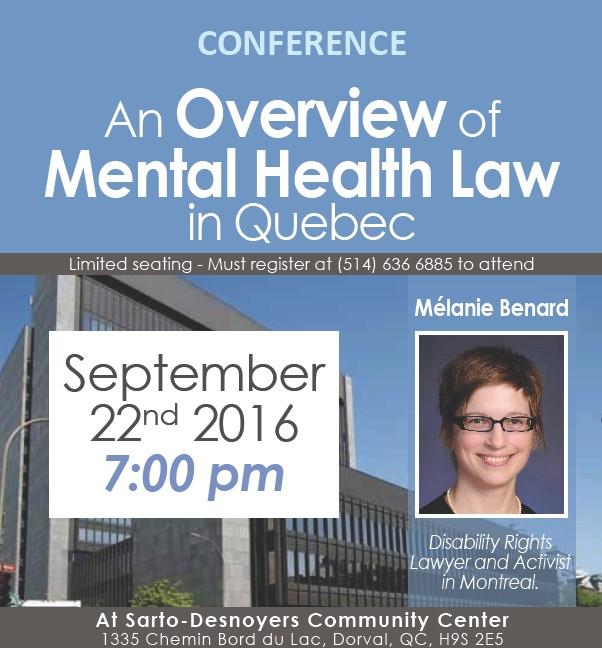 Free Conference, Mental Health Law in Quebec, Mélanie Bernard, Disability Rights Lawyer, Activist, Dorval, West Island Blog, Rhonda Massad