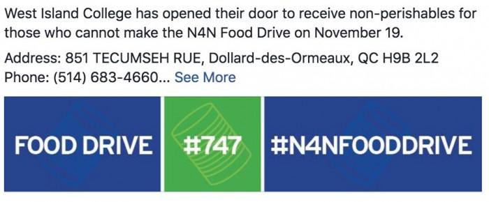 N4N Food Drive, West island Blog, Rhonda Massad