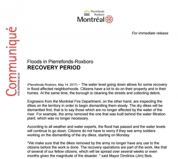 Pierrefonds, #mtlflood2017, #opluntus17, Rhonda Massad, West Island Blog, West Island News, Flood