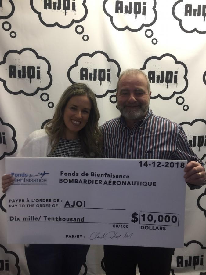 AJOI receives $10,000 donation from the « Fonds de Bienfaisance des employés de Bombardier »