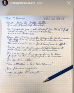 Hand letter from Francois Legault