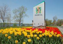 Dorval city hall tulips borough west island sign ville de Dorval