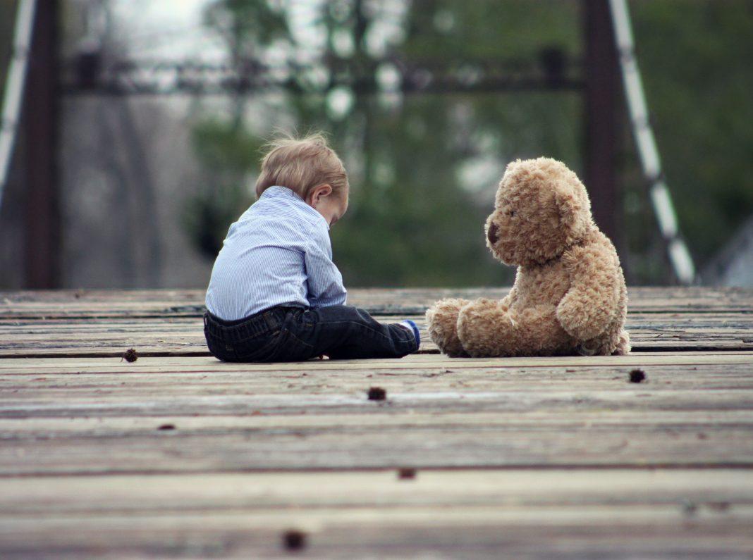 child sad teddy bear kids children