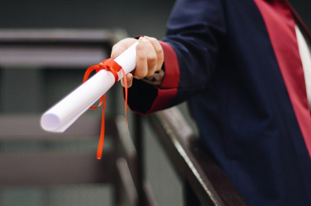 grads graduate white scroll school university caged