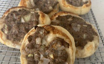 open-faced Lebanese meat pie