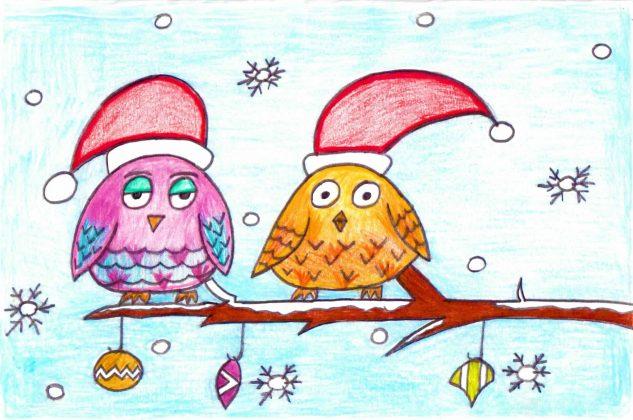 Zach_Designs_Owls_in_Santa_hats_Card_Design