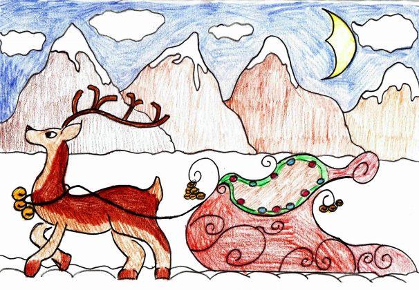 Zach_Designs_Reindeer_pulling_sleigh_Card_Design