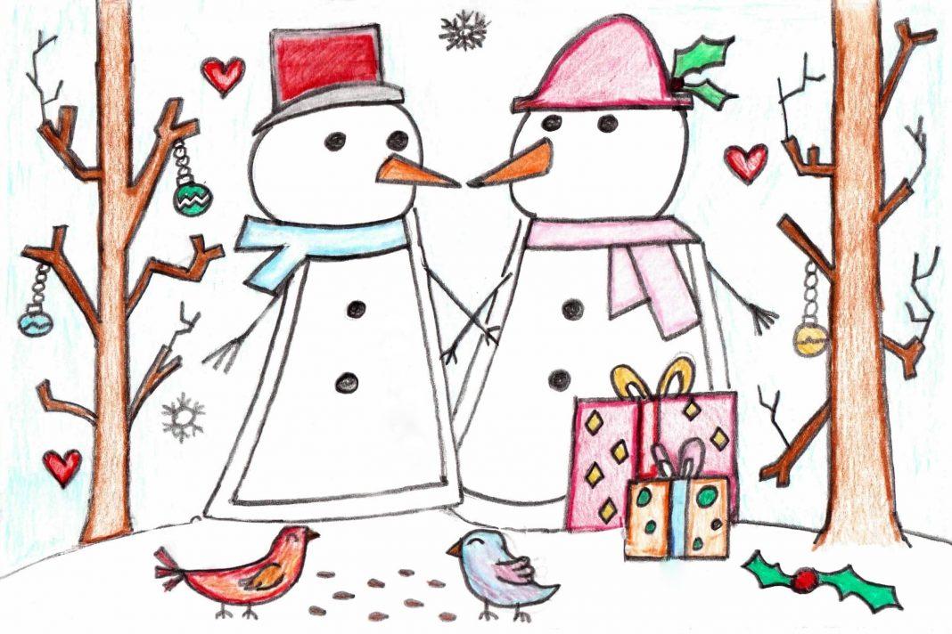 Zach_Designs_Snowman_and_woman_Card_Design