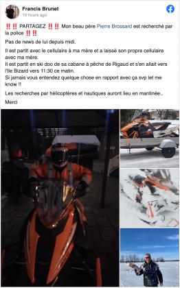 Pierre Brossard missing Ile Bizard